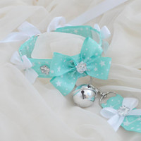 Icy mint set - pastel green and white choker necklace with bell and matching leash - lolita neko kitten pet play bdsm collar