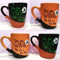Funny coffee cups, mugs, holiday mug, halloween witch mugs, cute coffee cups, glittery mugs, glitter gifts