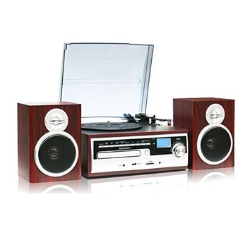 TechPlay 3-Speed Turntable with CD / MP3 / Cassette / SD Card / USB player, Digital AM / FM Radio, AUX IN, Line out Alarm CLOCK , Remote and External Speakers- Wood