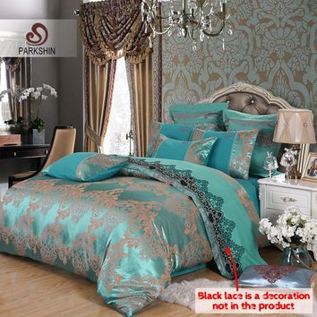 Cool ParkShin Comforter Bedding Sets Tencel Silk Luxury Duvet Cover Bed Sheet Hot Sale Queen King Double Blue Jacquard Bed Linens SetAT_93_12