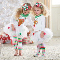 Princes Baby Girls Sets Kids Christmas Deer Shirt + Tutu Dress Stripe Legging Outfits = 1946616452