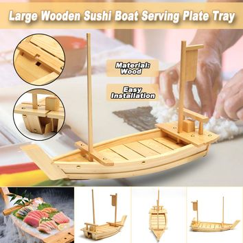 60x21cm Large Wooden Sushi Boat Plate for Tea Sushi Dishes Dinner Party Sashimi Serving Tray Holding Tableware for Home Hotel