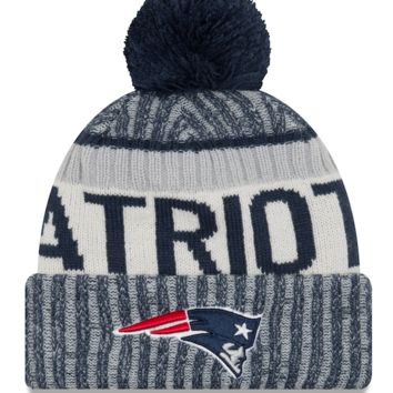 New England Patriots NFL17 Sideline Cuffed Pom Knit Hat By New Era