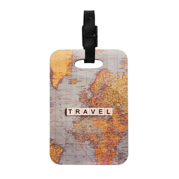 "Sylvia Cook ""Travel Map"" World Decorative Luggage Tag"