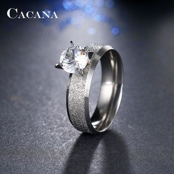 Stainless Steel Rings With CZ Jewelry NO.