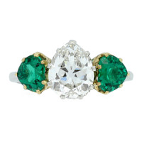 1920s Drop Shape Natural Unenhanced Emerald Old Mine Diamond Ring