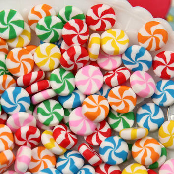 Candy Cabochons - 12mm Chunky Peppermint Swirl Candy Drop Clay or Resin Cabochons - 12 pcs set