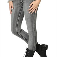 Dollhouse Grey Blast Skinny Jean with Back Pocket Embroidery - Clearance
