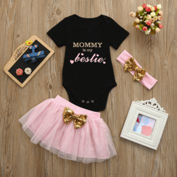Cute Baby Girl Clothes T-shirt + Skirt + Headband