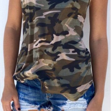 Camouflage Embroidered Causal Tank Top 12146