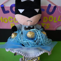 Batman Plush Doll Flower Bouquet with Ferrero Rocher Chocolates. Superhero birthday!
