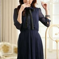 Fashion Bowknot Half Sleeve Chiffon Deep Blue Ralph Lauren : Yoco-fashion.com
