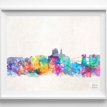 Budapest Skyline, Hungary Watercolor, Poster, Hungarian, Print, Bedroom, Cityscape, City Painting, Living, Illustration Art, Europe [NO 425]