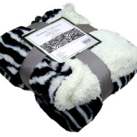 "Zebra Faux Fur Throw/Blanket. Super Soft.  60"" x 50""."
