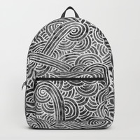 Grey and white swirls doodles Backpacks by Savousepate