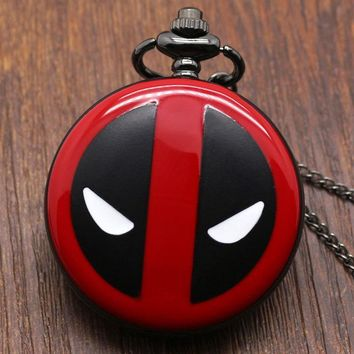 Deadpool Dead pool Taco Fashion  Cosplay Anime Cartoon Pocket Watches with chain necklace pendant  for Kids Boys and Girls AT_70_6