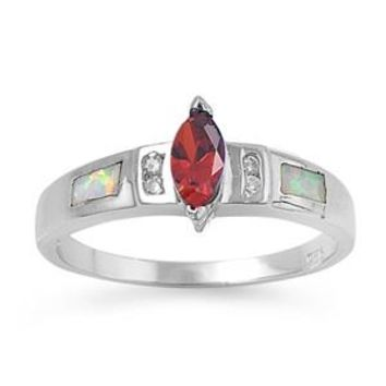 Sterling Silver Marquise CZ Garnet CZ 6MM White Lab Opal Ring