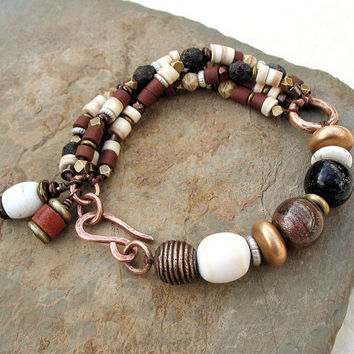 Rustic Tribal Bracelet – Earthy Beaded Multi Strand Bracelet in Natural Colors,  Bronze Bracelet , Mixed Metals, Ethnic Jewelry OOAK