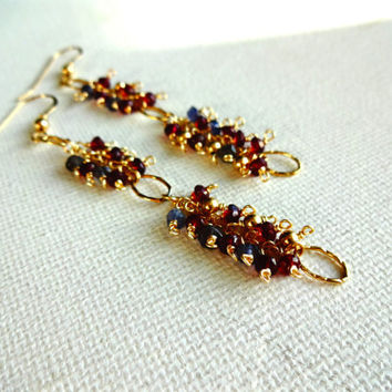 Handmade Micro Red Garnet & Tanzanite 14k Gold Cluster Earrings; Red Blue Gold Earrings;  Natural Stone Chandelier Earrings; Red Statement
