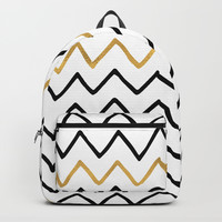Writing Exercise-Simple Zig Zag Pattern- Black on White Gold - Mix & Match with Simplicity of life Backpack by Simplicity Of Life
