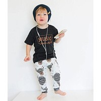 2 Piece 'Music Moves Me' T Shirt + Pants Set