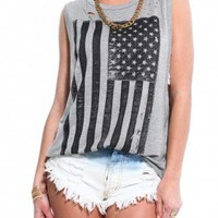 Distressed Flag Muscle Tee