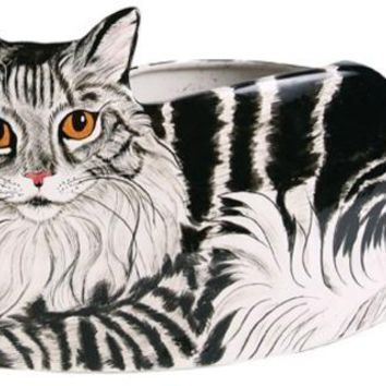 Dreamer - Gray Tabby Cat Planter Vase