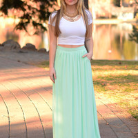 Tall Tale Maxi Skirt- Mint