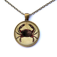 Marine necklace Crab pendant Nautical jewelry CWAO99