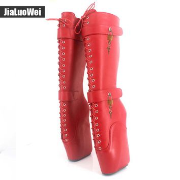 jialuowei Brand 18cm Extreme High Heel Fetish Sexy Wedges Lace-up Buckle Heelless Ballet Boots unisex Lockable Knee-High Boots