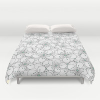Cherry Blossom Mint Duvet Cover by Project M