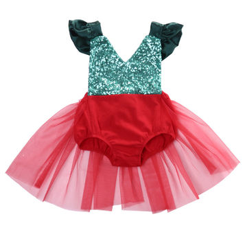 Christmas Newborn Infant Baby Girl Red Backless Romper Tulle Tutu Jumpsuit Sunsuit Xmas Outfits Clothes