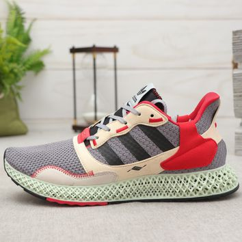 adidas ZX 4000 4D Grey Three Core Black-Hi Res Yellow Running Shoes - Best Deal Online
