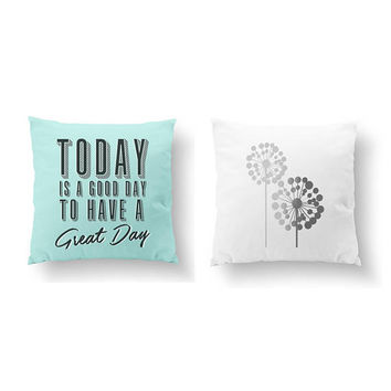 SET of 2 Pillows, Today Is a Good Day, Life Quotes, Gold Pillow, Big Dandelion Pillow, Bed Pillow, Floral Art, Throw Pillow, Cushion Cover