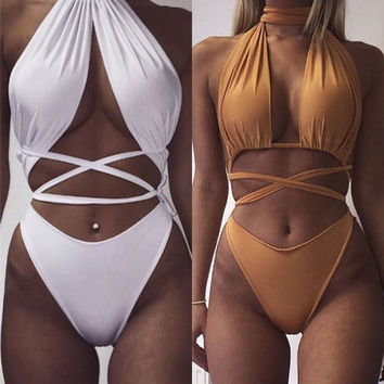Sexy Cross Halter One Piece Swimsuit Swimwear