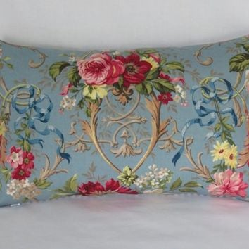 "Fragonard Blue Floral Lumbar Pillow Cover, Richloom Cornflower, 11 x 17"" Blue Ticking Stripe Back, French Country Fabric"