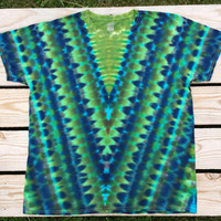 XL Tie Dye Shirt, Greens and Blues,  Adult Tie Dye T-Shirt,  Hippie Top,  Ready to Ship