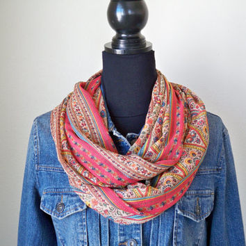Floral Boho Infinity Scarf, Orange and Turquoise Scarf, Spring and Summer Scarf, Infinity Scarf