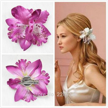 Adult Ladies Boho Orchid Flower Hair Pin Clip Ornament