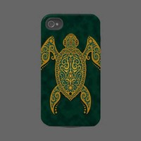 Intricate Golden Blue Sea Turtle Tough Iphone 4 Cover from Zazzle.com