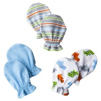 Gerber® Newborn Boys' 3-Pack Mittens - Blue 0-6 M