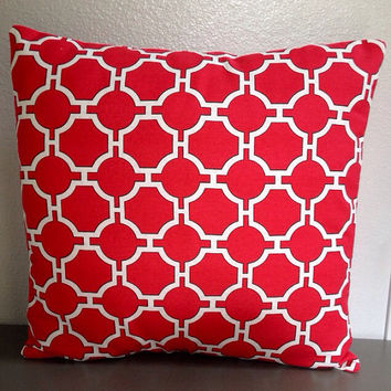 idriss panorama cherry red accent pillow cover geometric decorative pillow 18in envelope cover throw pillow red