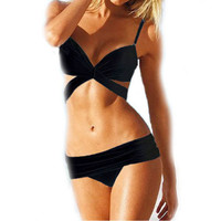 Fashion summer sexy bra Women Halter Swimsuit Women Brazilian Push Up Sling Decorate Bathing Suit Swimwear
