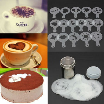 16x Cappuccino Coffee Barista Stencils+Stainless Steel Chocolate Shaker Duster 3