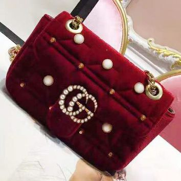 GUCCI Marmont Tide brand Pearl rivet chain bag shoulder diagonal female bag Red