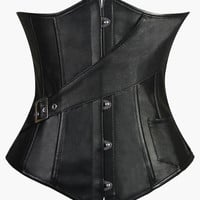 Black Diagonal Belt and Pocket Accent Leather Corset