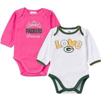 Green Bay Packers 2-Pack Bodysuit Set - Baby Girl, Size: