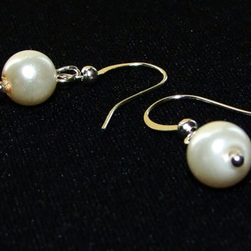 Swarovski Pearl Earrings, Coin Pearl Earrings, Sterling silver, Bridesmaid Earrings, pearl coin earring