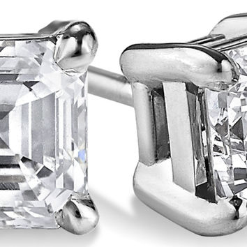 Perfect Asscher Cut Russian Lab Diamond Solitaire Platinum Stud Earrings