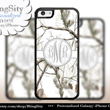 Snow Camo Gray Grey Monogram iPhone 5C 6 Plus Case iPhone 5s 4 Cover Ipod White Realtree Personalized Country Inspired Girl